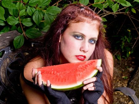 Goth Girl with Watermelon Stock Photo