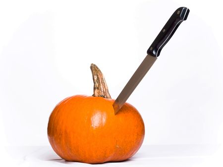 Stabbed Pumpkin Stock Photo