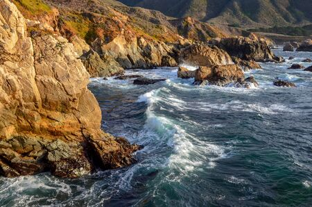 Coastline of rugged cliffs and rocks along the Big Sur coast in California