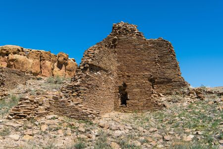 Ancient ruins of the Puebloan culture in the Chaco Culture National Historical Park, a Word Heritage site in New Mexico, USA