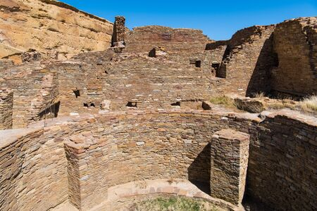 Walls of stonework in old ruins at Chaco Culture National Historical Park in New Mexico, USA