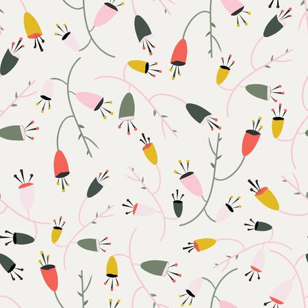 Creamy white with whimsical pink, red, yellow flowers seamless pattern background design.