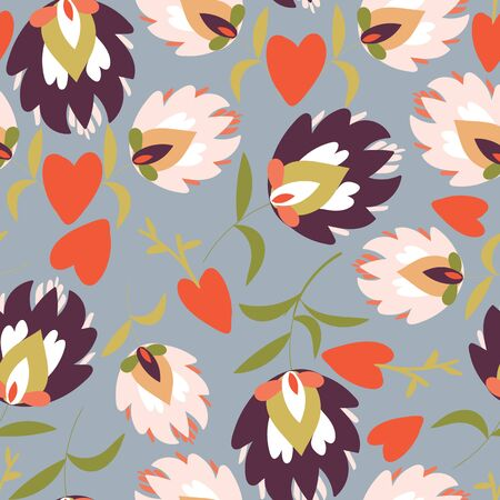 Grey with folk like flowers and red hearts seamless pattern background design.