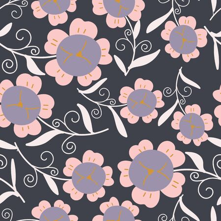 Dark background with large pink florals and white long leaves seamless pattern background design.