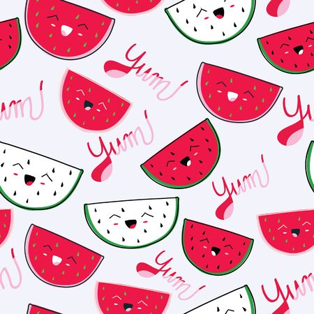 White with cute watermelon slices seamless pattern background design. Illustration