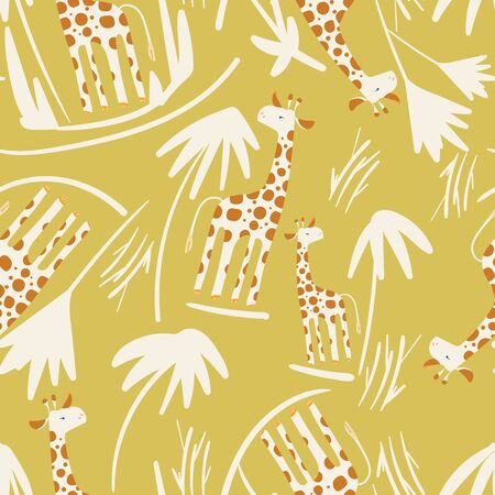 Mustard yellow with cute Giraffes and palm trees seamless pattern background design.