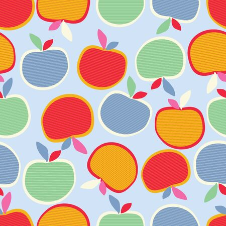 Light blue with loose whimsical apples seamless pattern background design.