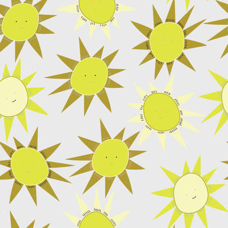 Light Grey with sun illustration seamless pattern background design.