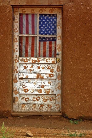 adobe pueblo: Flag Door