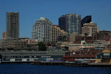 puget: Seattle Skyline from Puget Sound Stock Photo