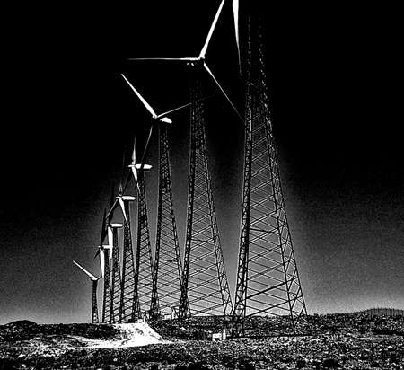 Line of Windmills in Black and White Stock Photo