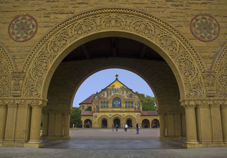 Stanford Chapel framed through an arch. Stock Photo