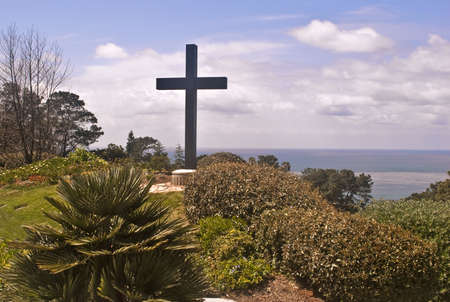 Cross overlooking the Pacific Stock Photo