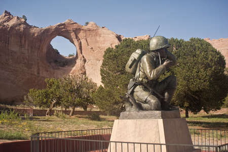 Window Rock and Navajo Code Talker statue