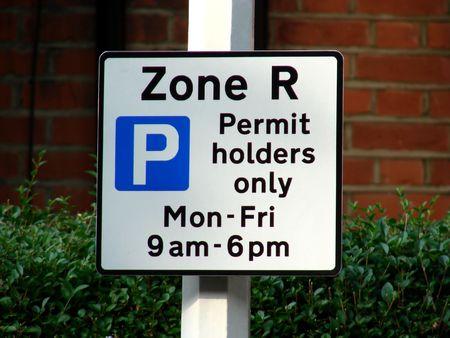 Parking Sign for permit holders Standard-Bild
