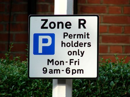 permit: Parking Sign for permit holders Stock Photo
