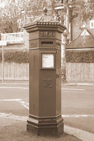 Victorian Mailbox in Sepia Stock Photo - 571418