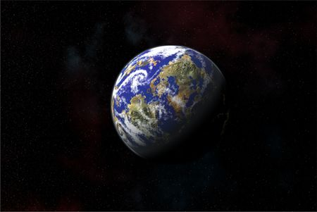 Earth Like Planet in Outer Space Stock Photo