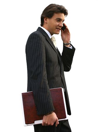 Male Model with Mobile Phone and Notebook Stock Photo