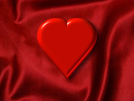 Red Valentine Heart on a Satin Background