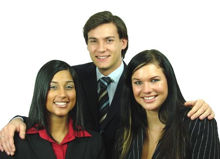 Businessman with his team of girls Stock Photo
