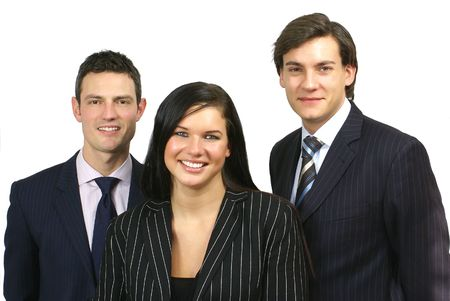 Small Group of three business people Stock Photo