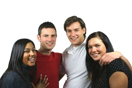 Group of happy young people having fun together