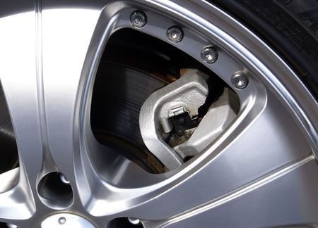 Section of Alloy Wheel with part of Brake Caliper