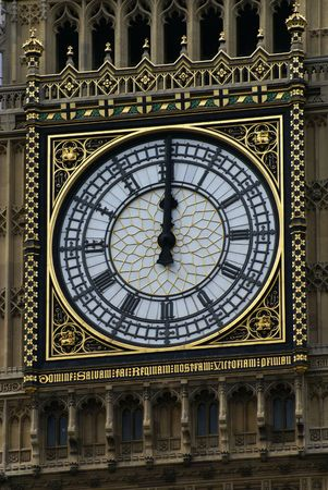 Face of Big Ben in London at 12 oclock Midday