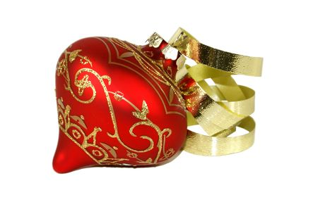 Red Christmas Decoration with Gold Detail and ribbon