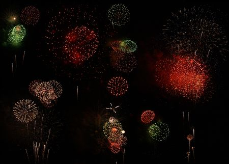 A Multitude of Fireworks in the Night Sky Stock Photo