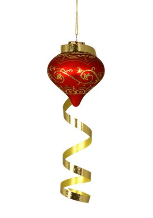 Red and Gold Christmas Tree Ornament Hanging with Gold Ribbon Draped over it Stock Photo