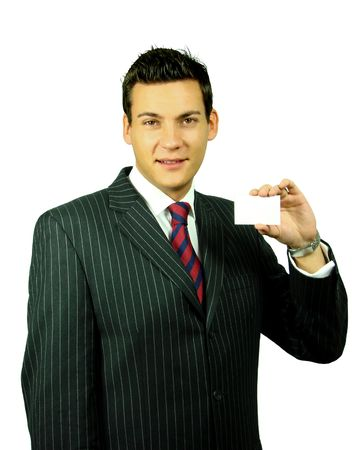 Young Male in Suit with a Blank Business Card
