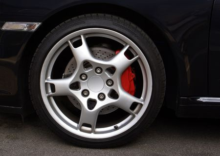 Wheel from an expensive sports car coupe