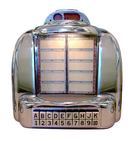 the fifties: Vintage Jukebox Isloated on a White background Stock Photo