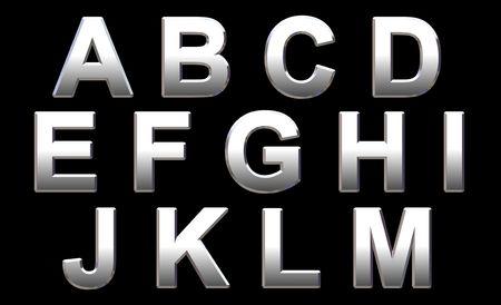 Chrome Text on Black. 3D Render Standard-Bild