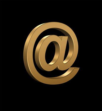 Gold Email Symbol. 3D Render on Black