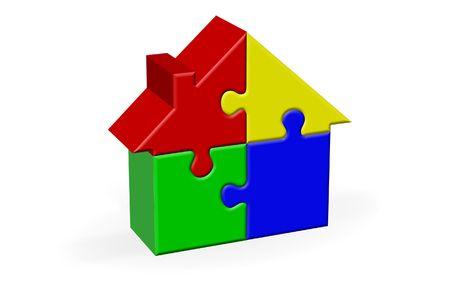 House Built Out of Jigsaw Like Blocks Stock Photo