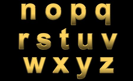 Gold Alphabet Letters Lowercase n -z On Black Stock Photo