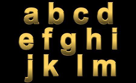 Gold Alphabet Letters Lowercase a - m On Black