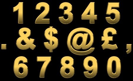 Gold Numbers and Punctuation Marks On Black
