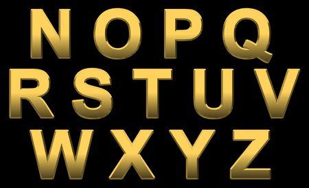 helvetica: Gold Alphabet Letters Uppercase N- Z On Black