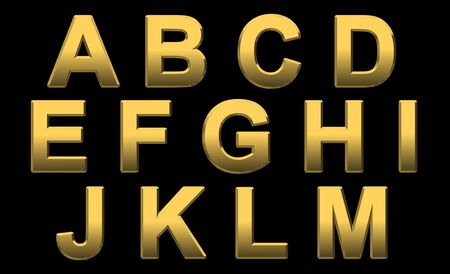 Gold Alphabet Letters Uppercase A - M On Black
