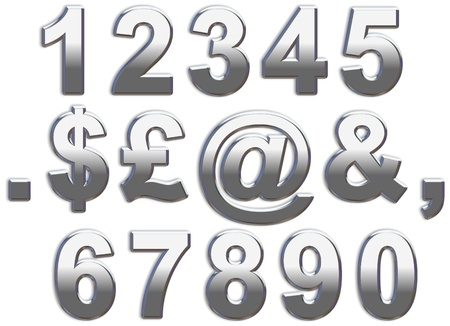 numbers: Chrome numbers on a white background 1-0 Stock Photo