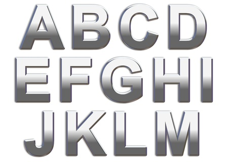 Chrome capital letters on a white background A-M Stock Photo