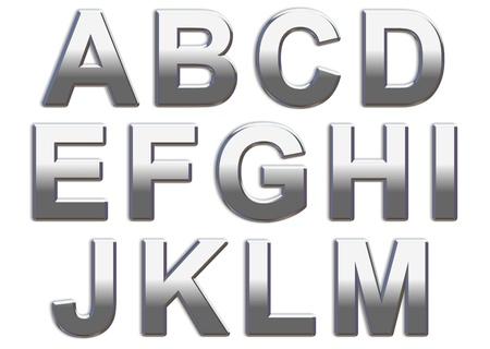 letras cromadas: Letras may�sculas de cromo sobre un blanco de fondo A-D