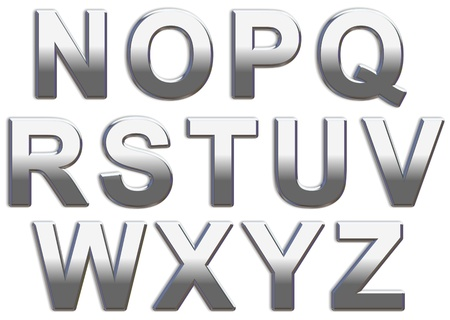 Chrome capital letters on a white background N-Z Stock Photo
