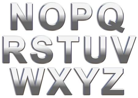letras cromadas: Letras may�sculas de cromo sobre un blanco de fondo N-Z