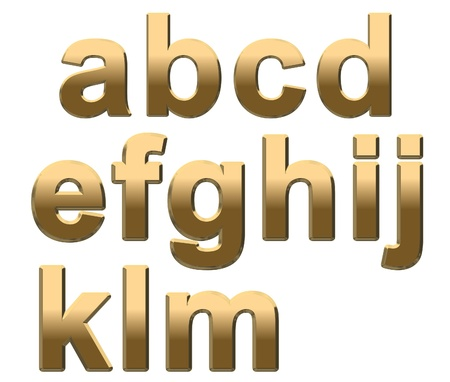 lowercase: Gold lowercase letters on a white background A-M