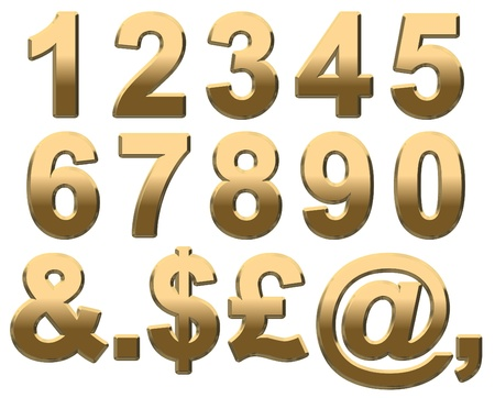 Gold numbers and punctuation on a white background Standard-Bild